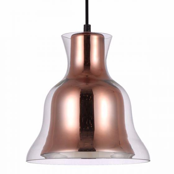 Lampada Scintillare Copper & Glass Shade Bell Pendant Light