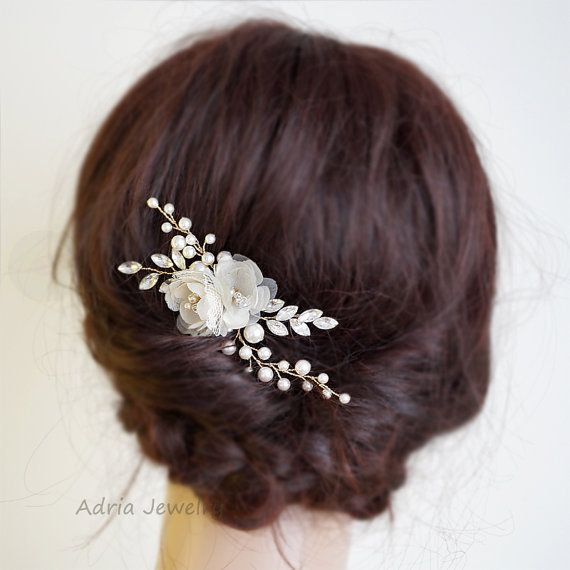 Gold Bridal Headpieces, Silk Flowers Hair Clips, Rhinestone Pearls Wedding Hair…
