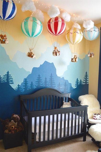 Wunderlicher Waldland-Kindergarten – lieben Sie dieses herrliche Wandbild + Heißluftballondekor! #nurseryIdeas   – Isabelle