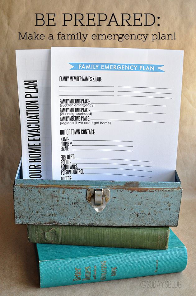 Printable Family Emergency Plan - use this printable to prepare your family in case of an emergency. www.thirtyhandmadedays.com