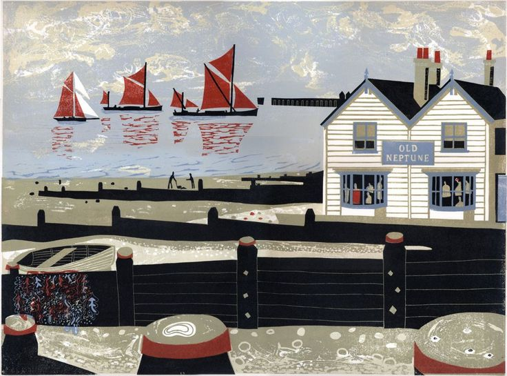 """""""Oyster Smack and Thames Barges Approaching Whitstable Harbour"""" a linocut by Melvyn Evans"""