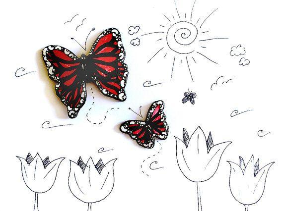 Farfalle dipinte a mano da appendere alle pareti delle camere delle bambine, ragazze e donne, modellate a mano in porcellana fredda e dipinte da