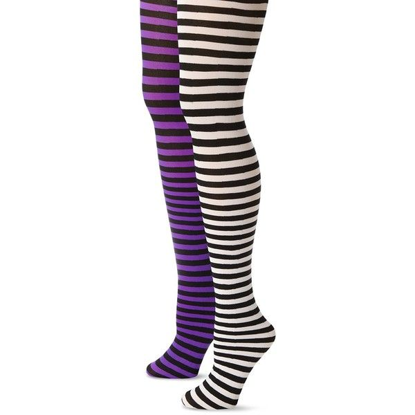 MUSIC LEGS Women's Plus-Size 2 Pack Opaque Striped Tights ❤ liked on Polyvore featuring intimates, hosiery, tights, striped pantyhose, opaque tights, stripe tights, plus size opaque tights and striped stockings