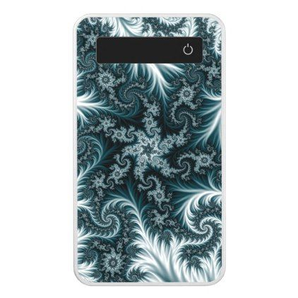 Cyan and white fractal pattern. power bank - girly gifts special unique gift idea custom