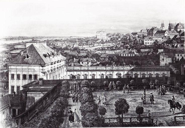 Warszawa - widok Pałacu pod Blachą z tarasu zamkowego, mal. Canaletto (XVIII w.)