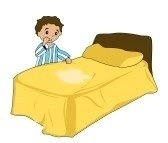 Bed wetting may actually be a child that has Elimination disorder. Which is were one defecates or urinates in inappropriate places. -pinned by Sheila