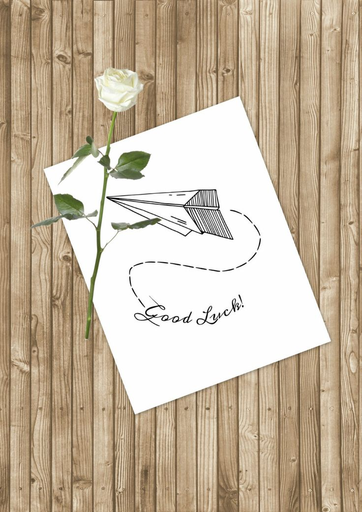 Paper Airplain Write Good Luck Card -Minimalist Illustration -Downloadable Art -Instant Download -Digital Print -Home Decor -Card Making - pinned by pin4etsy.com