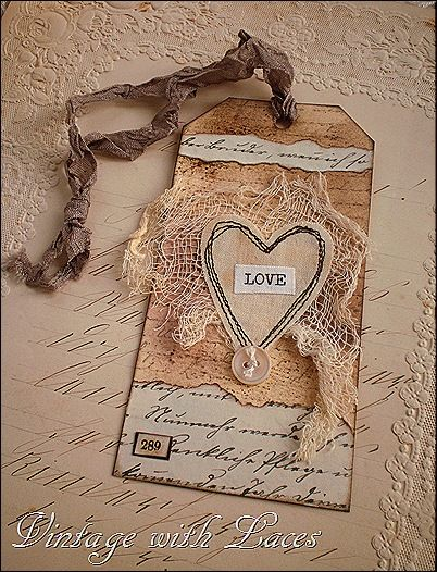 Beautiful 'Love' Tag...with stitched heart, netting, and ribbon.