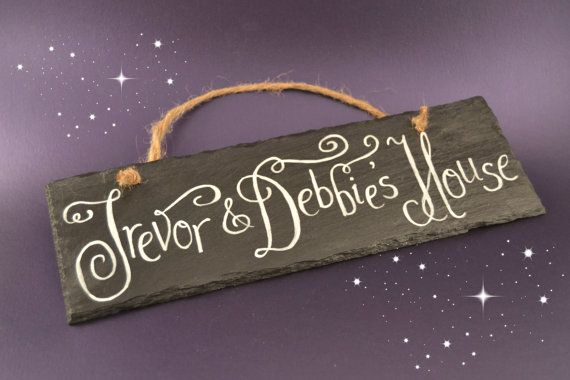 Personalised slate door name plate for Christmas by CoveCalligraphy