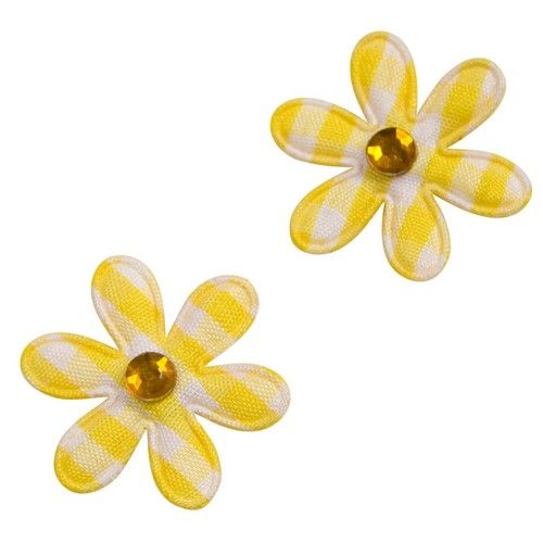 24 fleurs déco de table Vichy jaune