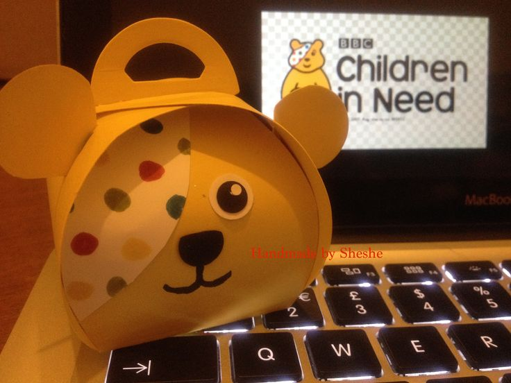 Pudsey Bear Curvy Keepsake box. Ideal for fundraising for Children in Need