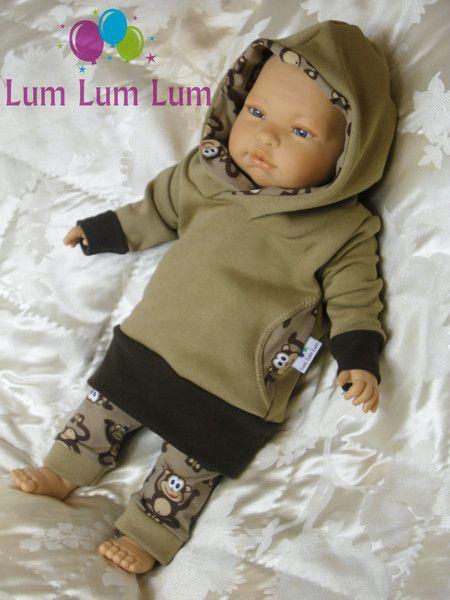 Pullover - Baby Pullover/Kapuzenpullover/Long Hoody Affen ♥ - ein Designerstück von Lum-Lum-Lum bei DaWanda
