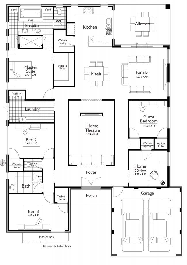 4 bedroom, home office, home theater | I would make out door dining part of s larger kitchen and laundry room. Make the laundry room a guest full bath or make it 2nd master closet. Add 3rd car garage for storage. :-):
