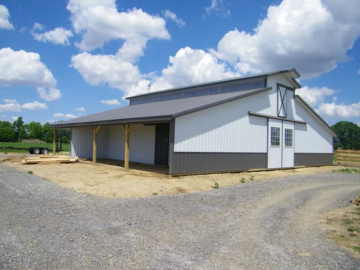 horse barn with garage | ... barn package 30x40x10 kit garage post frame plans building horse barn
