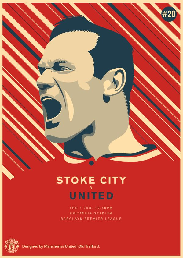 Match poster: Stoke City vs Manchester United, 1 January 2015. Designed by @manutd.