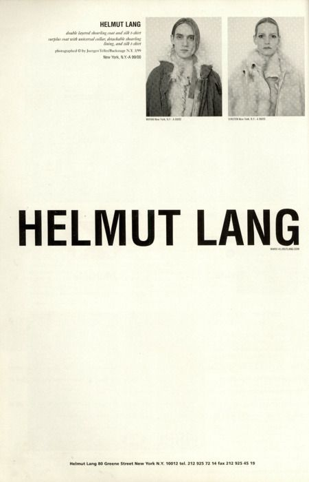 helmut lang. | The Big Idea. Advertising. The CV |