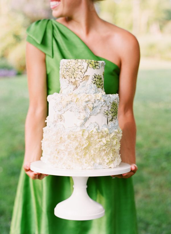 Hand painted cake, green bridesmaid gown katie stoops photography maggie austin cake