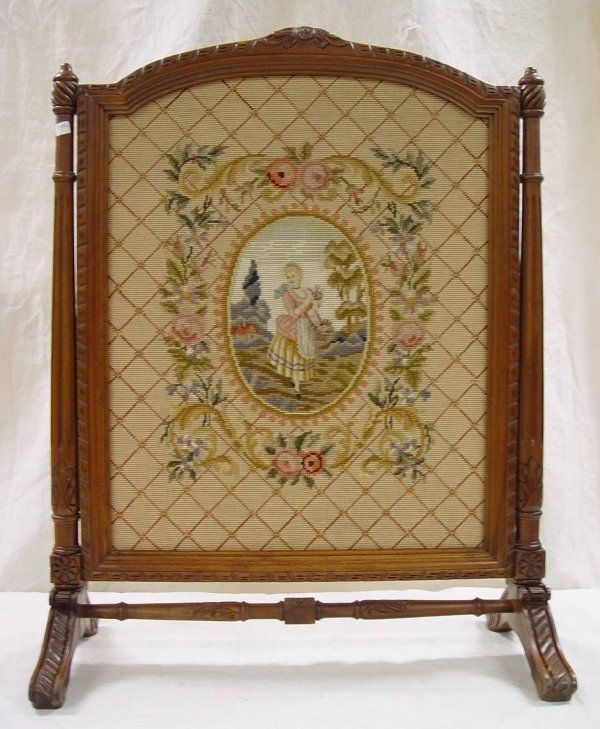 victorian fireplace screens | 532: VICTORIAN NEEDLEPOINT FIREPLACE SCREEN IN CARVED W