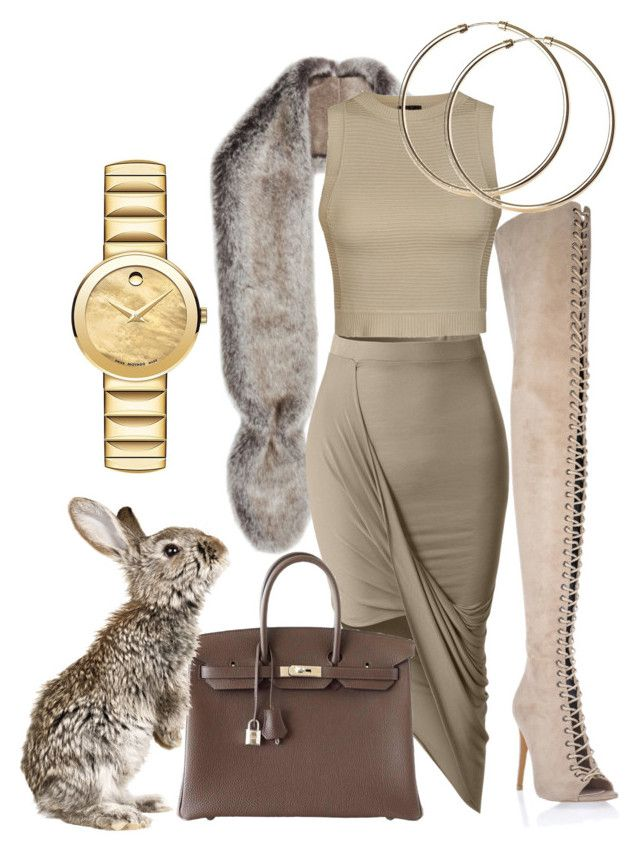 Neutrals by illetilmote on Polyvore featuring Ally Fashion, LE3NO, Gaia, Hermès, Movado and Helen Moore