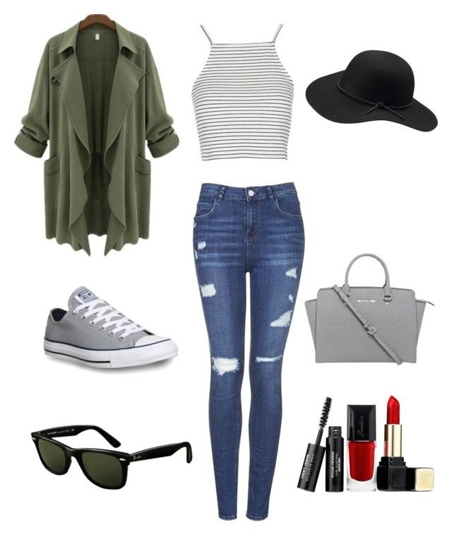 Outfit #6 by dianatairum on Polyvore featuring Topshop, Converse, Michael Kors, Ray-Ban and Guerlain