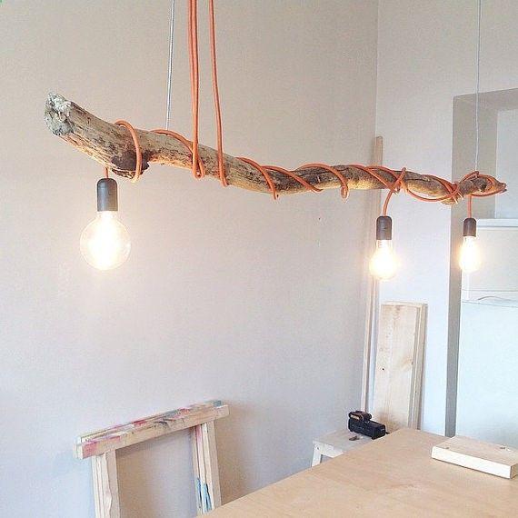 Hout hangende Lamp met Vintage lampen, natuurlijke houten lamp, modern en industriële lamp, uniek, kunst