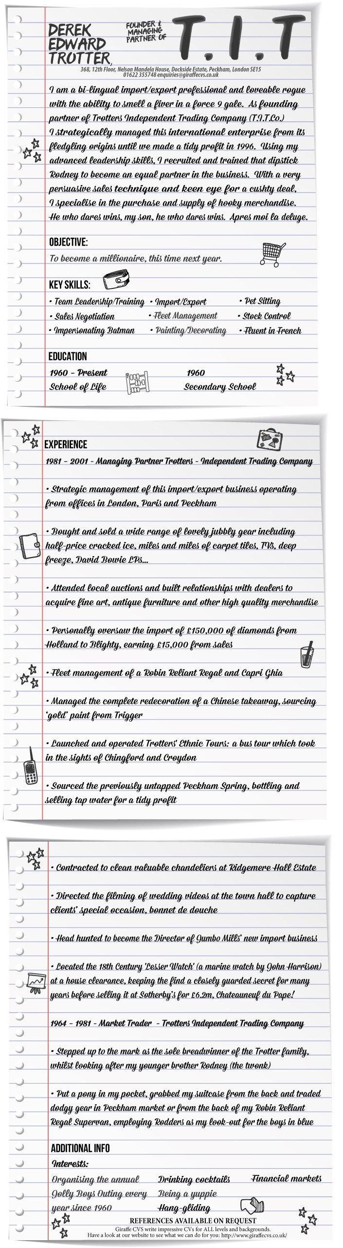 Giraffe CVs specialise in writing CVs for entrepreneurs, positioning them carefully for their next contract or an employed role.  Even Del Boy could get a new job with the right CV, as we've shown with this special Derek Trotter CV for Only Fools and Horses fans.