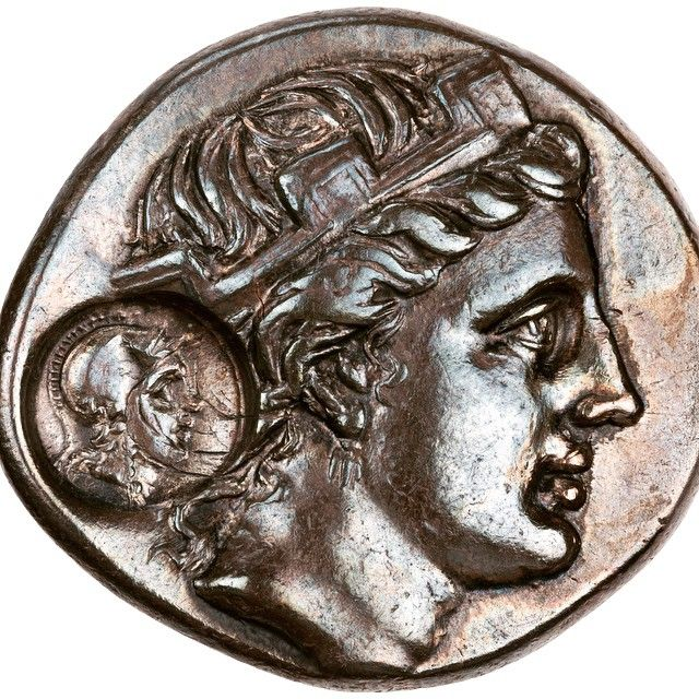 Obverse of a silver teradrachm, minted in Paphlagonia, a region along the Black Sea during the 3rd century BC. The bust depicts the naiad nymph of the main fountain or spring of the Greek colony of Sinope, and it has been struck a second time with a small stamp bearing a head ( Herakles ), presumably as a re-issue. #greek #sinope #anatolia #coin #numismatics #silver #nymph