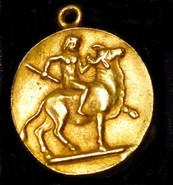 VTG-ALVA-MUSEUM-REPLICAS-ANCIENT GREEK COIN -GOLD PLATED-ZEUS & EUROPA-MYTHOLOGY #AlVAMUSEUMSREPLICAS