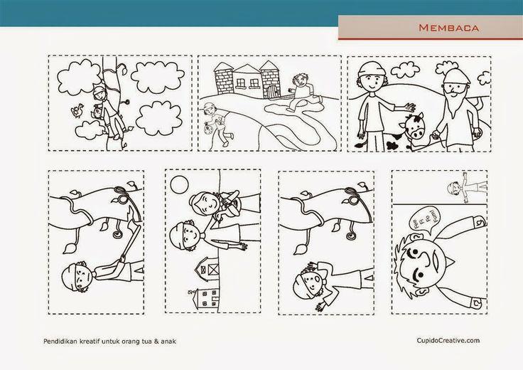 belajar membaca anak SD, mengurutkan cerita Jack dan Kacang Ajaib