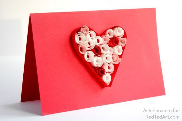 Quilled Heart - Valentines Cards. These simple quilling hearts are great introduction to paper quilling for kids. So easy to make, look gorgeous and fun!