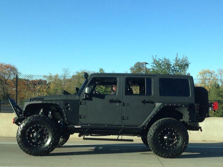 Matte Black Rhino Lined Jeep Wrangler Unlimited Jeeps