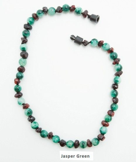 NEW Jasper Green Amber necklace for teething babies.  Soothes the pain. $25 http://www.mothersboutique.com/amberteething.html