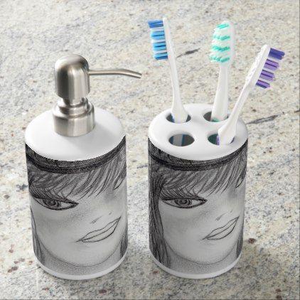 #Flipped Hair Flapper Soap Dispenser & Toothbrush Holder - #deco #gifts