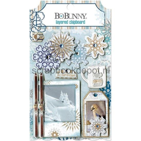 BoBunny Whiteout - Layered Chipboard