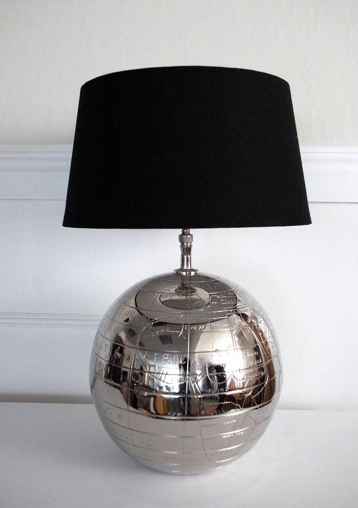 """Lampfot """"Globe"""" med svart skärm. Lamp """"Globe"""". www.longcoastliving.se"""