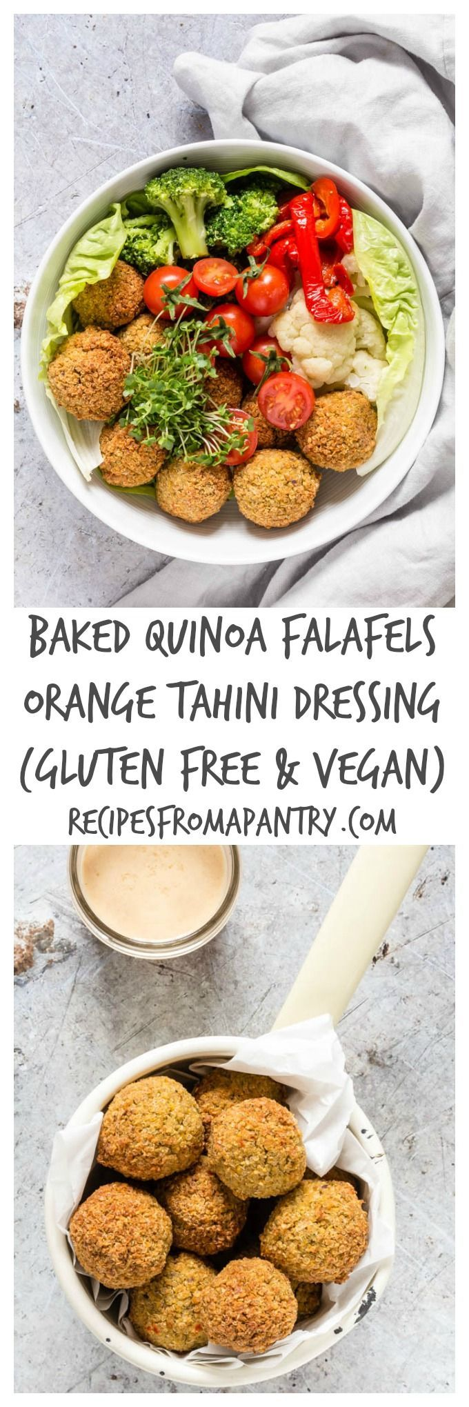 Baked Quinoa Falafels With An Orange Tahini Dressing | Recipes From A Pantry