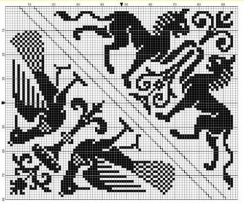 Corner 02 | Free chart for cross-stitch, filet crochet | Chart for pattern - Gráfico