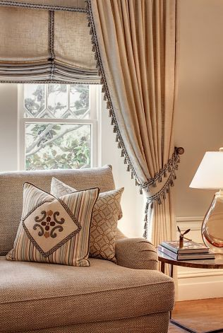 These matching roman blinds and curtains look stunning, also using the roman blinds as the working window treatment means the curtains can remain dressed permanently in their holdbacks. #interiordesigns #romanblinds