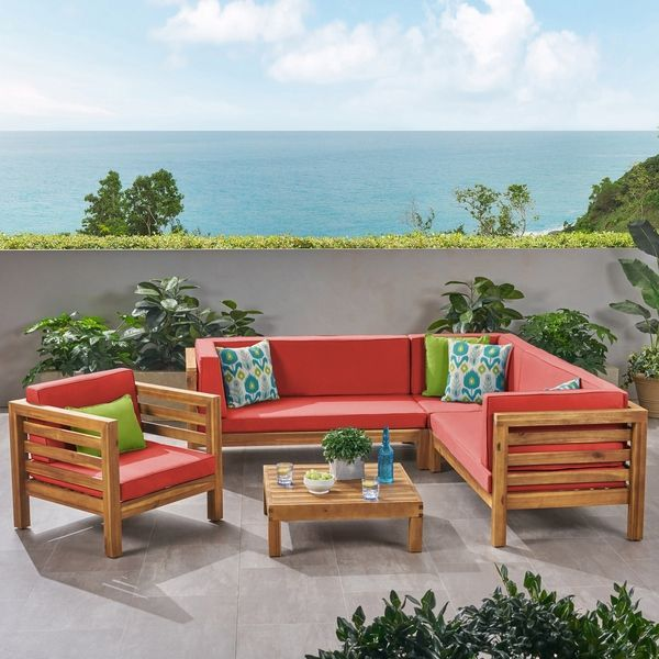 Oana Outdoor 6 Seater Acacia Wood Sectional Sofa And Club Chair