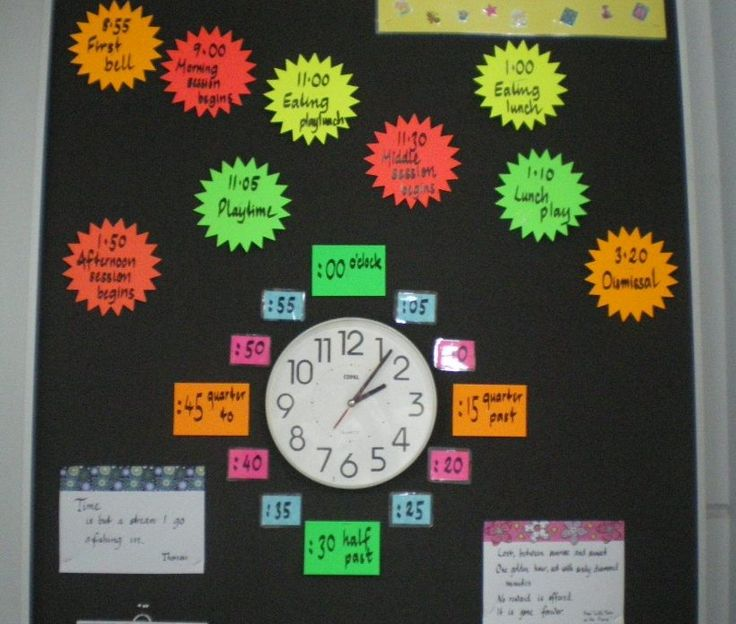 Saw a clock set up similar to this on Pinterest about a year ago - finally got around to doing a version for our classroom.