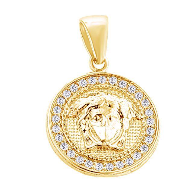 2.38 Ct Round Cut D/VVS1 18K Yellow Gold Over Men's Vintage Pendant #DiamantJewels #Pendant #FathersDay