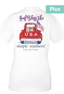 adccb4227a0 Simply Southern Preppy Collection Plus Size God Bless the USA T-shirt for  Women in