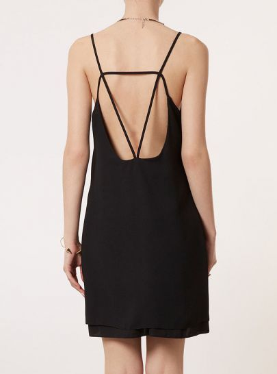 Black Sleeveless Spaghetti Straps Backless Dress