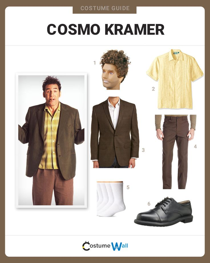 The best guide for dressing up in costume as Cosmo Kramer, the annoying neighbor of comedian Jerry Seinfeld from the hit TV sitcom Seinfeld.
