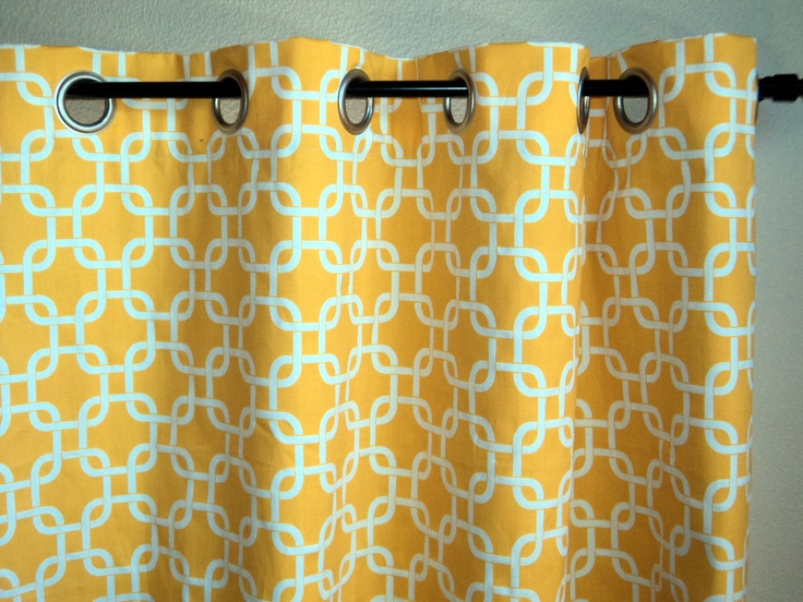 Grommet Top Drapes Corn Yellow Window Curtains Geometric