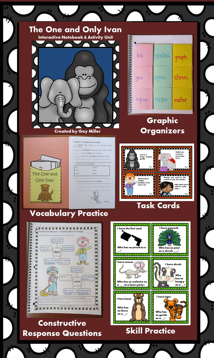 The One and Only Ivan Interactive Notebook and Activity Unit contains graphic organizers for an interactive notebook and game activities covering vocabulary, comprehension questions, constructive response writing, and skill practice. $