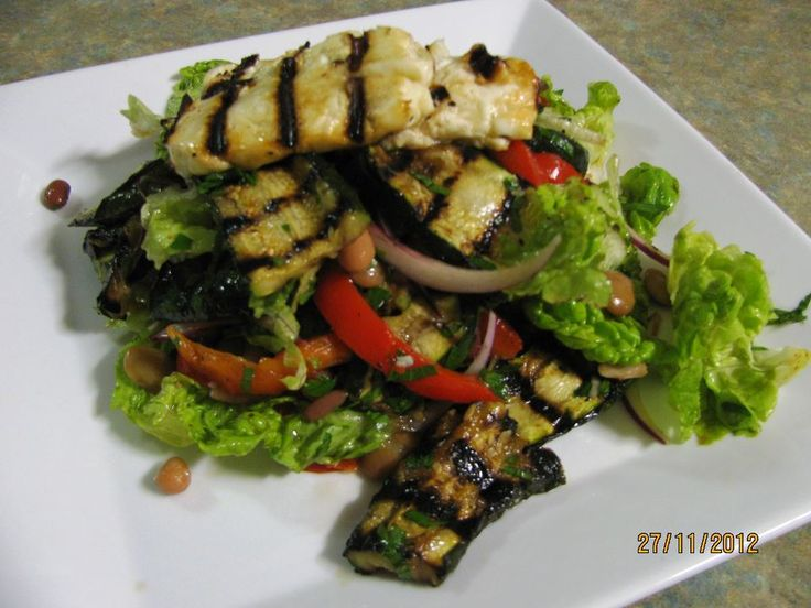 Roasted red capsicum, grilled zucchini, grilled Haloumi salad