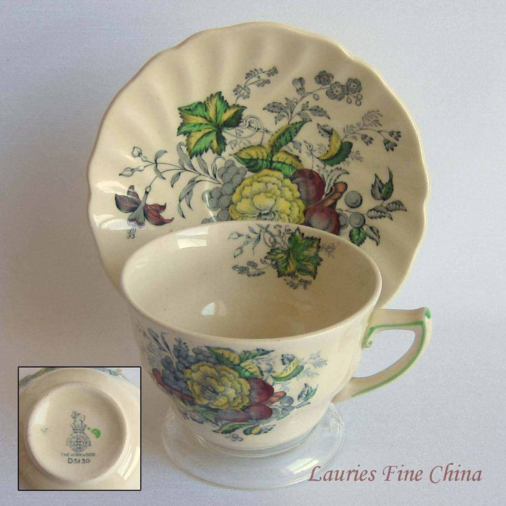 Royal Doulton THE KIRKWOOD D5130 Transferware Flat Tea Cup and Saucer - Made in England by LauriesFineChina on Etsy