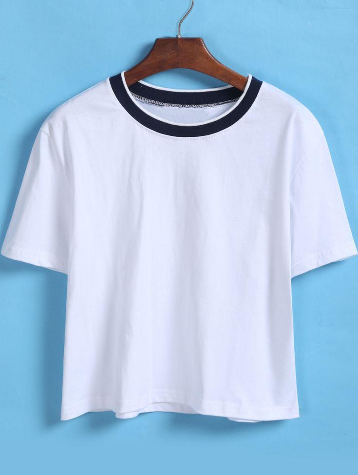 Contrast Collar Loose Crop White T-Shirt 8.90