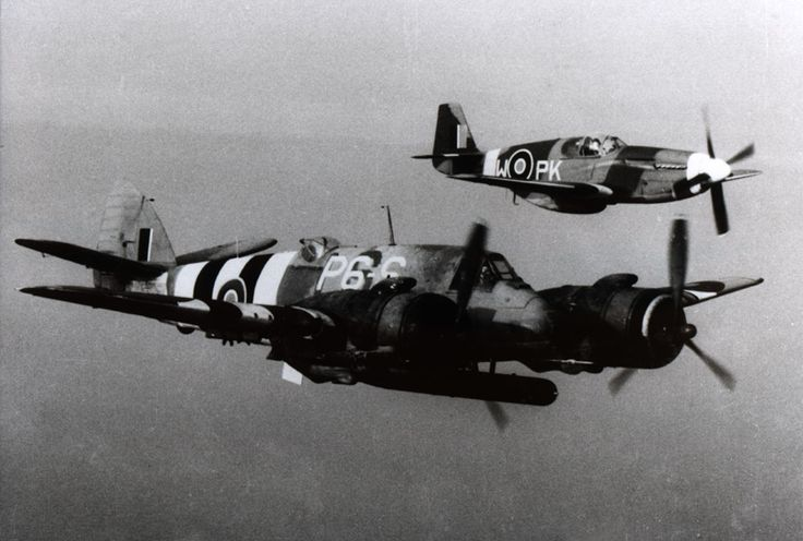 Beaufighter TF-X with Mustang III escort Beaufighter TF-X NE429 P6-S NZ 489 Sqn Pilot P/O E.F.G.Burrowes, Navigator F/S D.A.Young Mustang III FB123 PK-W Polish 315 Sqn(freshly delivered to the Sqn, so the 315 Sqn. checkerboard had not been painted yet) Pilot W/O Ryszard Idrian. (killed on 23.05.46 near Etah, India, while ferrying Spit XIV RN130.) Photo taken on the 30th July 1944 on return from Wing Strike Lister - Stavanger (Norway)
